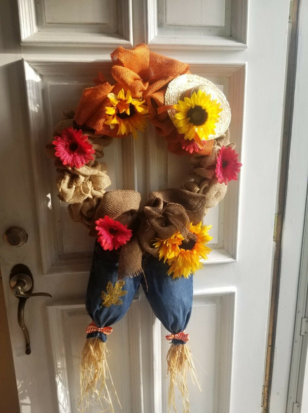 Fall Door Wreath Thanksgiving Autumn Colors Deco Mesh Leaves For Sale Online Ebay