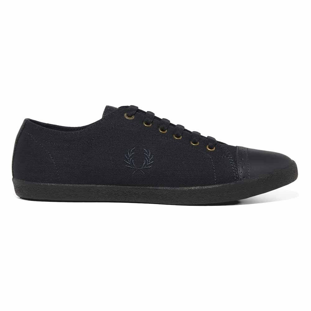 Fred Perry Kingston Brogue Herringbone Leather Trainers shoes B1190-608 Navy