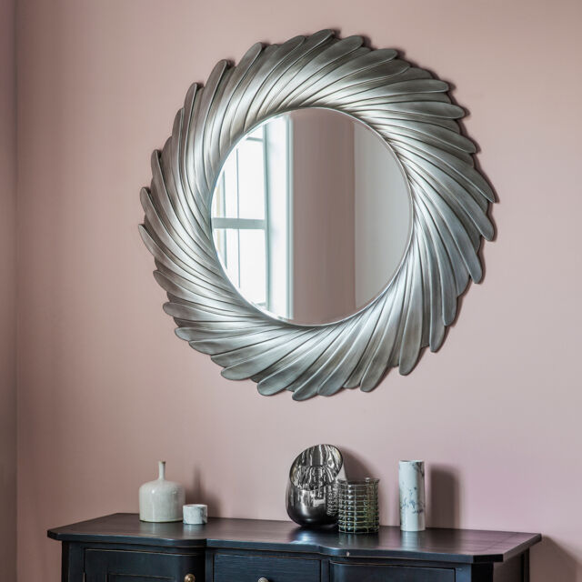 Lowry Unique Radial Design Extra Large Aged Silver Round Wall Mirror