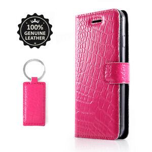 Echtes-Leder-Huelle-Flip-Wallet-Case-Cover-Etui-fuer-Handy-mit-reptil-motiv-ROSA