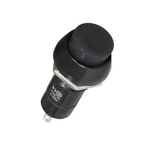 10-x-Drucktaster-Schwarz-1-polig-2-Kontakte-Schliesser-1-A-Rund-12-mm-Loetbar-5899