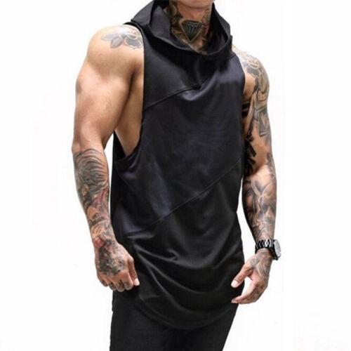 Gym Mens Vest Bodybuilding Hooded Tank Tops Muscle Clothing Stringer Hat T-Shirt