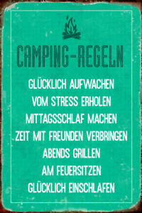 Camping-Fix-Tin-Sign-Metal-Shield-Arched-7-8x11-13-16in-R0331