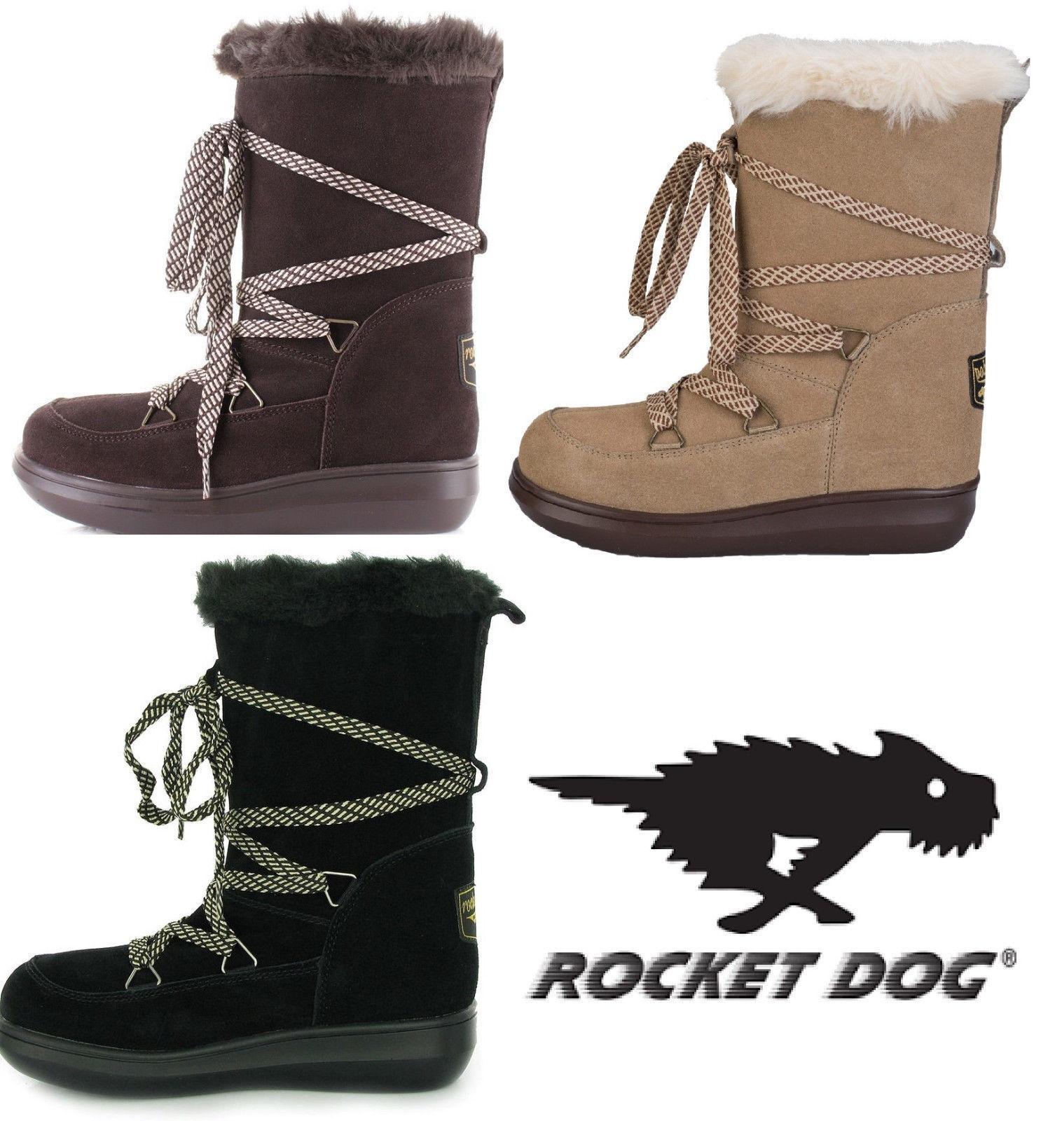 Rocket Wildleder Dog snowcrush Damen schnürbar Wildleder Rocket Winter Pelzfutter Stiefel NEU 057b1c
