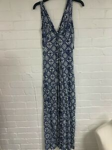 Ex Fat Face Blue and White Printed Front Knot Dress Size 16 (OR4.217)