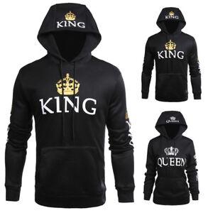 24c666d493f Men Women Hoodies Jumper Sweater Top King and Queen Crown Couples ...