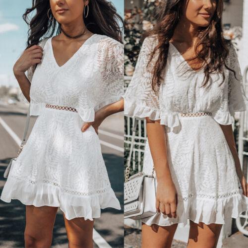 Women Summer Beach V-neck Ruffled Mini Dress 1//2 Sleeve Hollowed Sundress Party