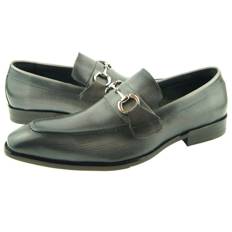 risposta prima volta Carrucci Bit Loafer, Uomo Slip-on Leather scarpe, scarpe, scarpe, grigio  spedizione gratuita!