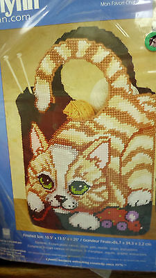 plastic canvas kit Cat Purse Shopping Tote Bag Janlynn needlepoint mouse back
