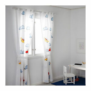 Image Is Loading IKEA FLYGNING Pair Of Curtains W Tie Backs
