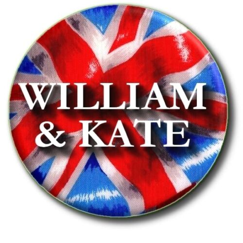 "PRINCE WILLIAM KATE UNION JACK UK FLAG  25 MM//1/"" BUTTON BADGE"