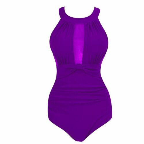 Plus Size Womens Mesh Swimming Costume Monokinis One Piece Swimsuit Swimwear UK