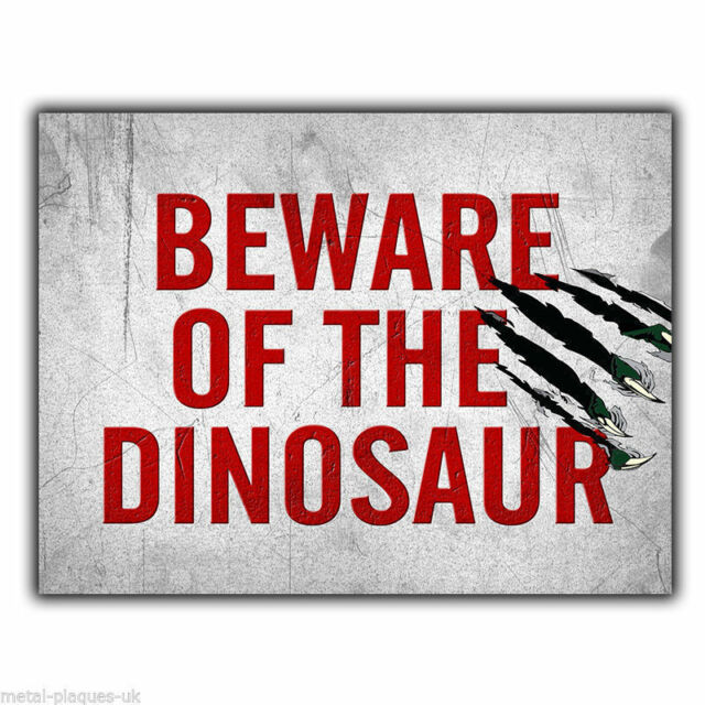 Beware Of The Dinosaur Metal Sign Wall Plaque Funny Humorous Poster Extraordinary Bedroom Wall Plaques