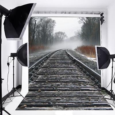 5x7FT Train Railway Vinyl Photography Backdrop Background Photo Studio Props