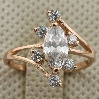 Size 6 7 8 Luxury white sapphire fashion jewelry gold filled women's ring rj1360