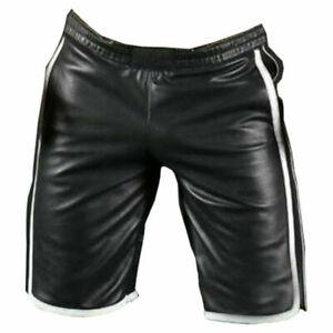 Men/'s Lamb Leather Basketball Shorts Real Leather Sports Shorts White Stripes