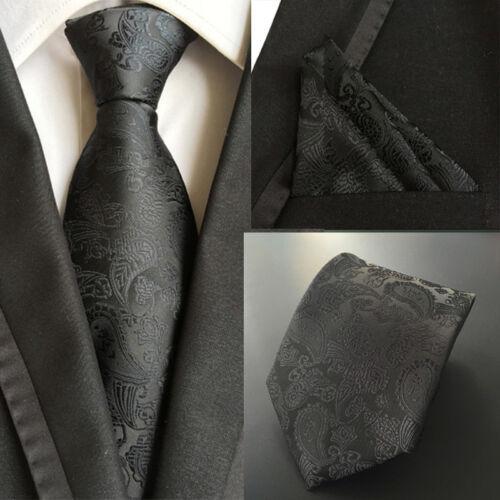Men/'s Solid Black Paisley Tie Neckties Handkerchief Pocket Square Set Lot T008