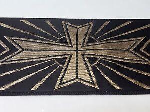 Vintage-Religioso-Diseno-Oro-en-Negro-Banda-Vestment-8-3cm-Ancho-3-7m-Lote
