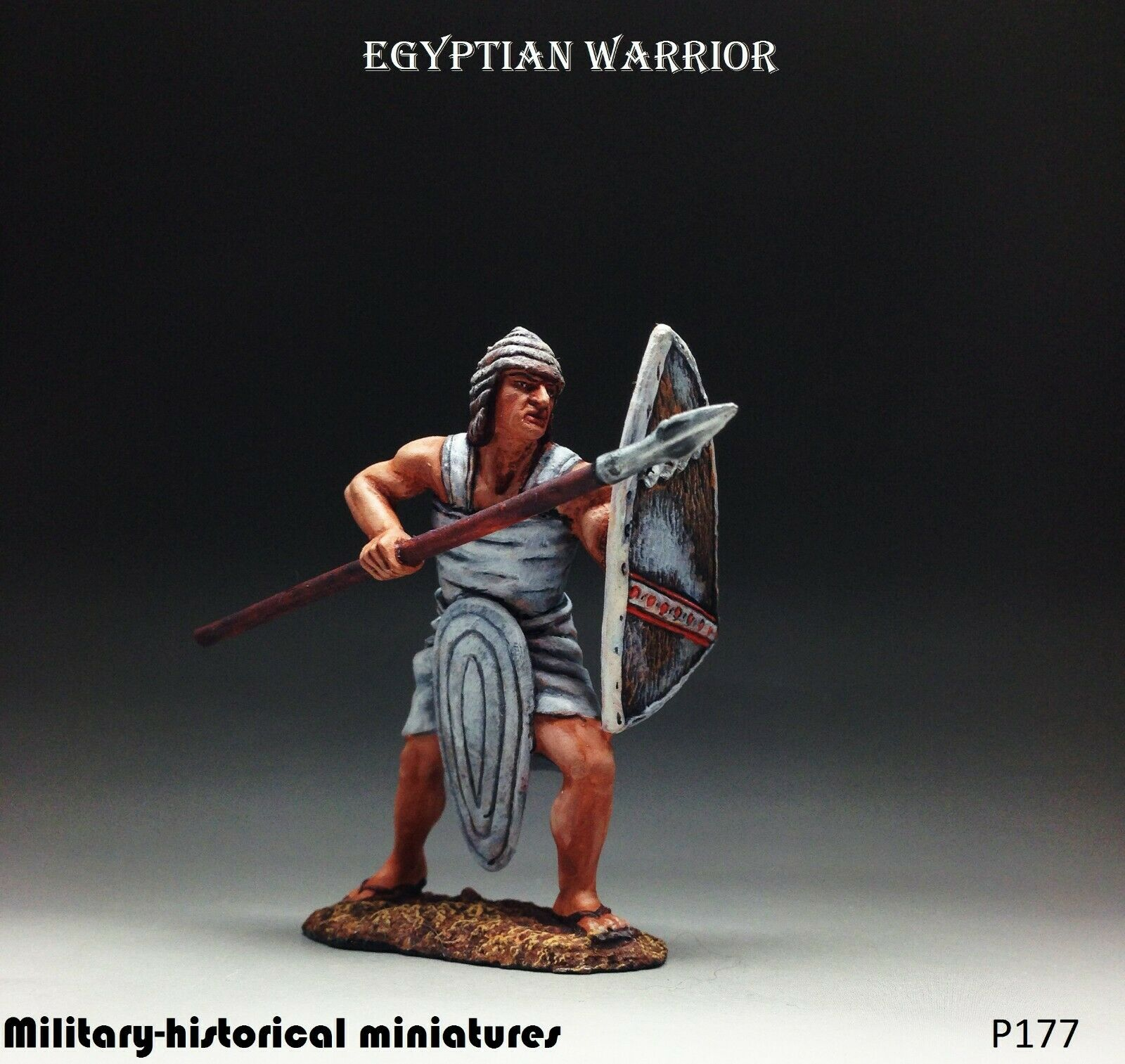 Egyptian warrior Tin toy soldier 54 mm figurine metal sculpture HAND PAINTED