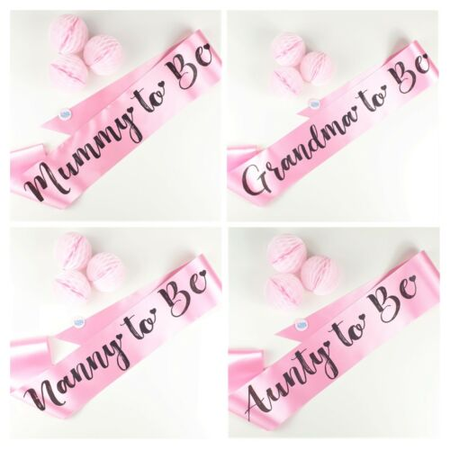 PINK BABY SHOWER SASHES Mummy to Be,Nanny,Aunty,Grandma,Big Sister Girl Sash NEW