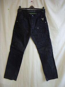 Mens-Jeans-POLICE-29-034-W-black-waxy-feel-32-034-L-hole-in-groin-torn-hem-0932