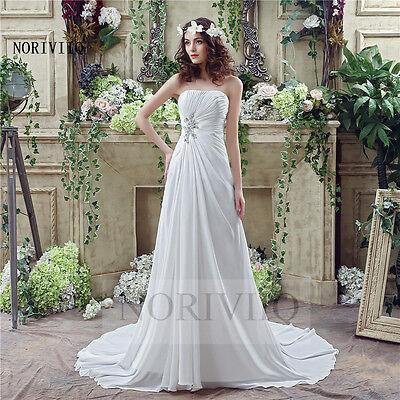 White/Ivory Strapless Sexy Wedding Dresses Lace Up Chiffon Beach Bridal Dress