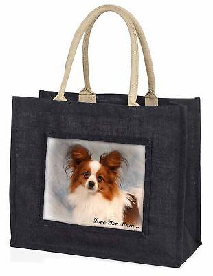 Papillon Hund' Liebe, die sie Mama' große schwarze Einkaufstasche WEIHNACHTEN