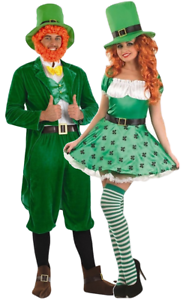 Couples Ladies AND Mens Leprechaun St Patricks Day Fancy Dress Costumes Outfits