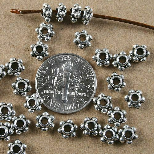 40pcs tibetan silver color 5x3mm daisy dot spacer beads H3717