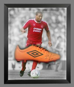 400d9380be67 John Barnes Signed Orange Umbro Football Boot In An Acrylic Dome ...