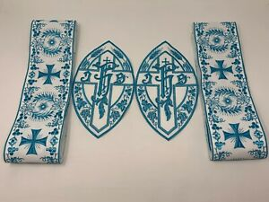Ihs-Cruz-Vestment-Banda-Emblems-Azul-Encendido-Blanco-4PC-Lote-Paquete