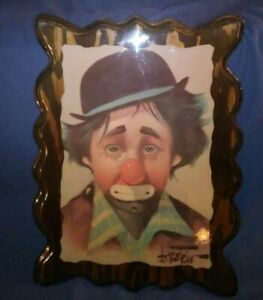 Wall-art-by-Chuck-Oberstein-Sad-Clown-On-Wood-with-resin-Vintage-rare-image