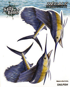 Sailfish Decals Bumper Stickers Right Left Facing Gifts Fishing Men Boys