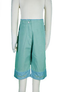 JACADI-Girls-Cornet-Pale-Green-3-4-Pants-w-Floral-Embroidery-Sz-10-Years-NWT-52