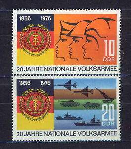 ALEMANIA-RDA-EAST-GERMANY-1976-MNH-SC-1712-13-National-people-s-army