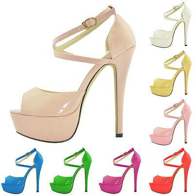 Womens Party Bridal Platform High Heels Open Toe Strap Sandals Shoes UK Size 2-9