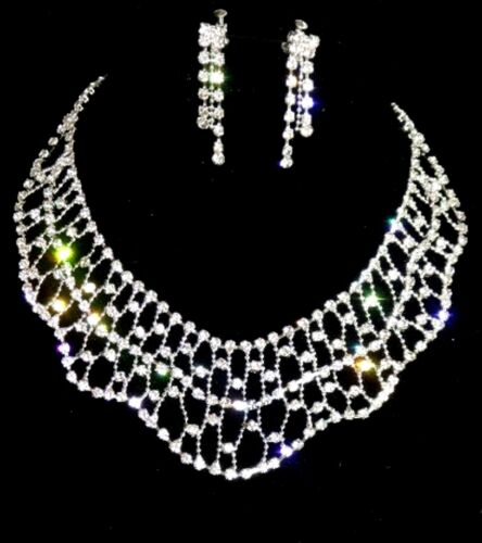 Diamante Rhinestone Silver Tone Wedding Prom Necklace Jewellery Set Gift Boxed