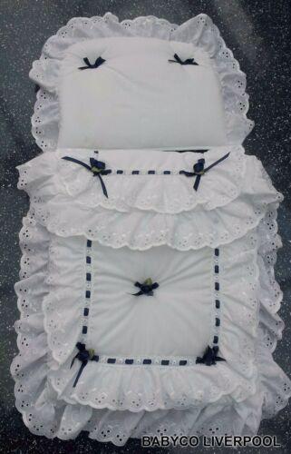 Bambole//Set carrozzina giocattolo per adattarsi Oberon Silver Cross-bianco con fiocchi rosa