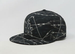New-Era-59Fifty-Hat-Mens-MLB-Los-Angeles-Dodgers-Black-Gray-Barbs-Fitted-Cap