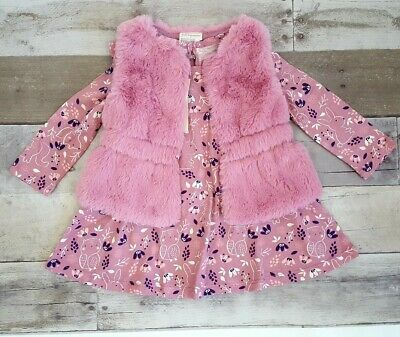 Details about  /First Impresssions Baby Girls Faux Fur Vest /& Long Sleeve Dress Matching Set