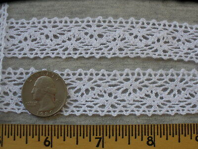 """Vintage White Cotton Cluny lace Trim 2 1//4/"""" Wide With 1//4/"""" Beading Ribbon 5 YDS."""