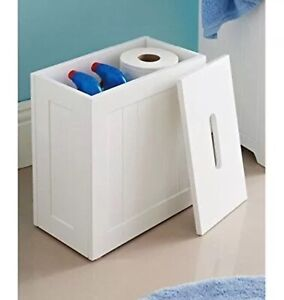 Details About Crisp White Finish Bathroom Storage U0026Toilet Cleaning Tidy Box  Unit