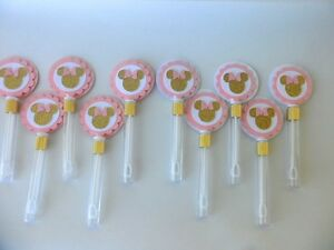 Image Is Loading Pink And Gold Minnie Mouse Bubble Wand Party