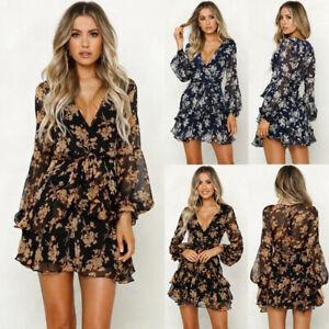 Women-Boho-Floral-Chiffon-Summer-Party-Evening-Beach-Short-Mini-Dress-Sundress-B