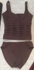 Karla Colletto Brown Two-Piece Underwire Tankini Swimsuit with Cut Out Detail 14
