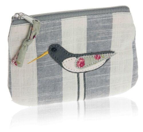 Grey Stripe Linen Fair Trade BNWT Oyster Catcher Bird Coin Purse