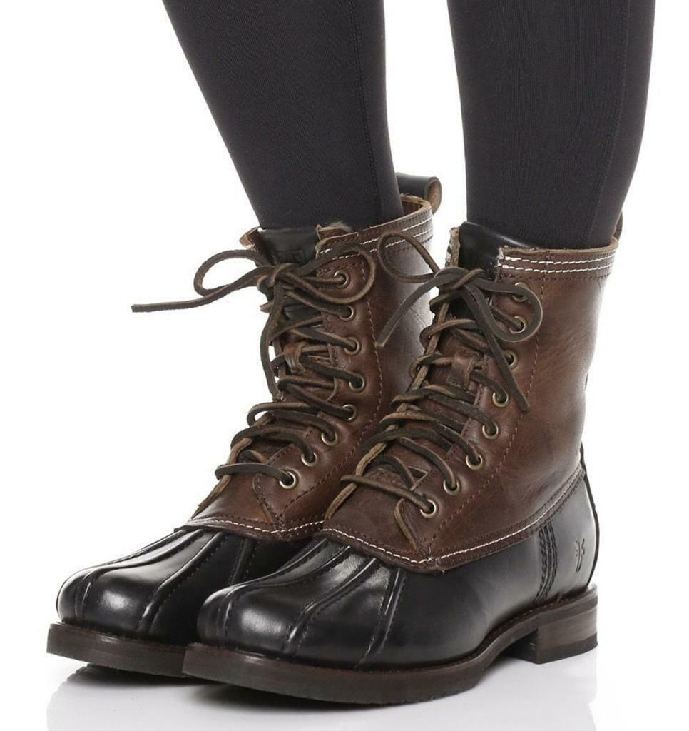 New in Box - $398 FRYE Veronica Duck Black Shearling Lined Boots Women's Size 6