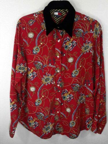 vintage tommy hilfiger button down shirt baroque v