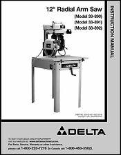 Delta Radial Arm Saw Instruction Manual# 33-890 , 33-891 , 33-892