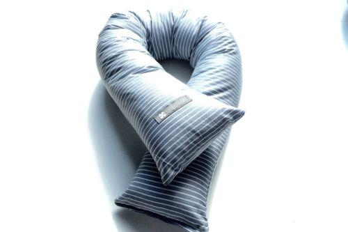 ♥ Bettschlange Bettrolle Lagerungskissen Nestchen  ♥ Grau mit feinen Streifen  ♥